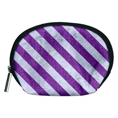 Stripes3 White Marble & Purple Denim Accessory Pouches (medium)