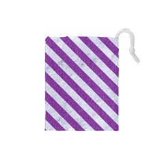 Stripes3 White Marble & Purple Denim Drawstring Pouches (small)
