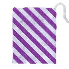 Stripes3 White Marble & Purple Denim Drawstring Pouches (xxl)