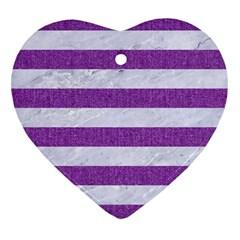 Stripes2white Marble & Purple Denim Heart Ornament (two Sides)