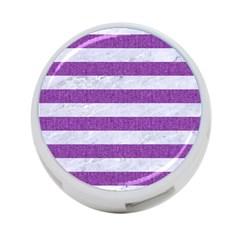 Stripes2white Marble & Purple Denim 4 Port Usb Hub (one Side)