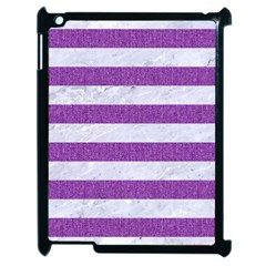 Stripes2white Marble & Purple Denim Apple Ipad 2 Case (black)