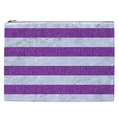 Stripes2white Marble & Purple Denim Cosmetic Bag (xxl)
