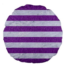 Stripes2white Marble & Purple Denim Large 18  Premium Round Cushions by trendistuff