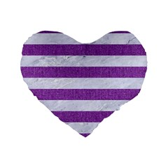 Stripes2white Marble & Purple Denim Standard 16  Premium Heart Shape Cushions