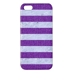Stripes2white Marble & Purple Denim Iphone 5s/ Se Premium Hardshell Case