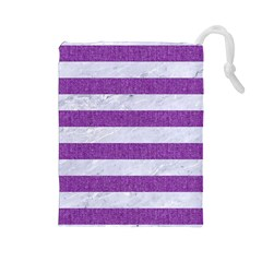 Stripes2white Marble & Purple Denim Drawstring Pouches (large)