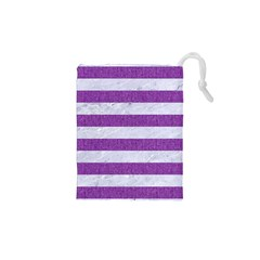 Stripes2white Marble & Purple Denim Drawstring Pouches (xs)