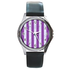 Stripes1 White Marble & Purple Denim Round Metal Watch