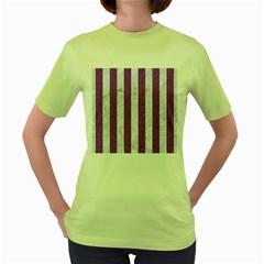 Stripes1 White Marble & Purple Denim Women s Green T Shirt