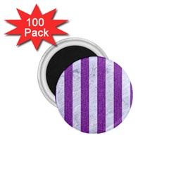 Stripes1 White Marble & Purple Denim 1 75  Magnets (100 Pack)