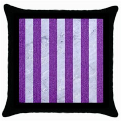 Stripes1 White Marble & Purple Denim Throw Pillow Case (black)
