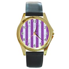 Stripes1 White Marble & Purple Denim Round Gold Metal Watch