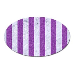 Stripes1 White Marble & Purple Denim Oval Magnet by trendistuff