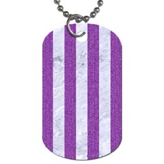 Stripes1 White Marble & Purple Denim Dog Tag (one Side)