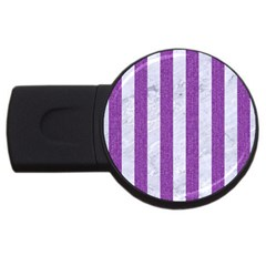 Stripes1 White Marble & Purple Denim Usb Flash Drive Round (4 Gb)