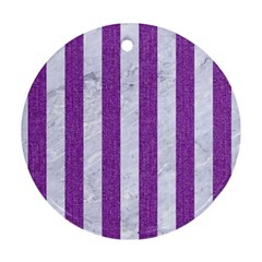 Stripes1 White Marble & Purple Denim Round Ornament (two Sides) by trendistuff