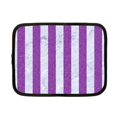 Stripes1 White Marble & Purple Denim Netbook Case (small)