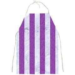 Stripes1 White Marble & Purple Denim Full Print Aprons