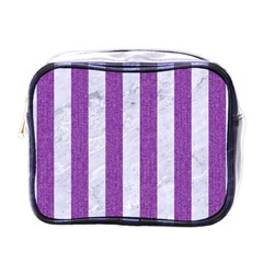 Stripes1 White Marble & Purple Denim Mini Toiletries Bags