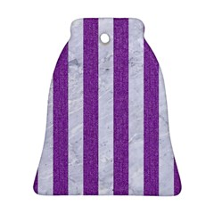 Stripes1 White Marble & Purple Denim Bell Ornament (two Sides)