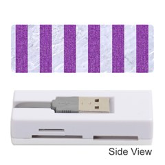 Stripes1 White Marble & Purple Denim Memory Card Reader (stick)  by trendistuff