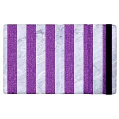 Stripes1 White Marble & Purple Denim Apple Ipad 2 Flip Case by trendistuff