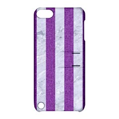 Stripes1 White Marble & Purple Denim Apple Ipod Touch 5 Hardshell Case With Stand