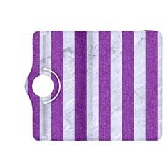 Stripes1 White Marble & Purple Denim Kindle Fire Hdx 8 9  Flip 360 Case