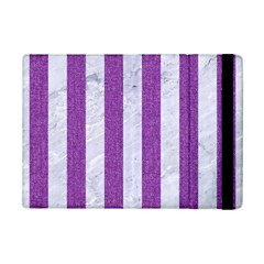 Stripes1 White Marble & Purple Denim Ipad Mini 2 Flip Cases