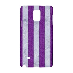 Stripes1 White Marble & Purple Denim Samsung Galaxy Note 4 Hardshell Case