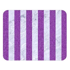 Stripes1 White Marble & Purple Denim Double Sided Flano Blanket (large)