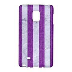 Stripes1 White Marble & Purple Denim Galaxy Note Edge