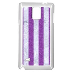 Stripes1 White Marble & Purple Denim Samsung Galaxy Note 4 Case (white)