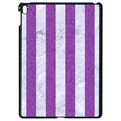 Stripes1 White Marble & Purple Denim Apple Ipad Pro 9 7   Black Seamless Case
