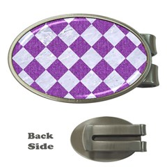 Square2 White Marble & Purple Denim Money Clips (oval)  by trendistuff