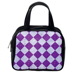 Square2 White Marble & Purple Denim Classic Handbags (one Side)