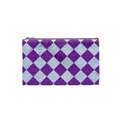 Square2 White Marble & Purple Denim Cosmetic Bag (small)