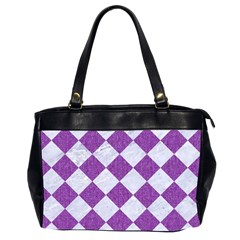Square2 White Marble & Purple Denim Office Handbags (2 Sides)