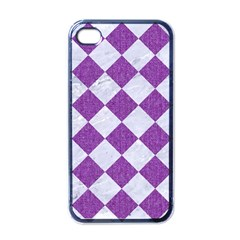 Square2 White Marble & Purple Denim Apple Iphone 4 Case (black)