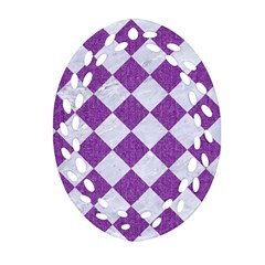 Square2 White Marble & Purple Denim Oval Filigree Ornament (two Sides)