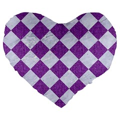 Square2 White Marble & Purple Denim Large 19  Premium Heart Shape Cushions by trendistuff