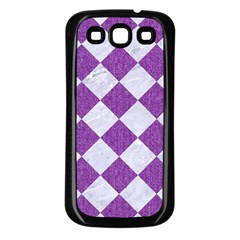 Square2 White Marble & Purple Denim Samsung Galaxy S3 Back Case (black)