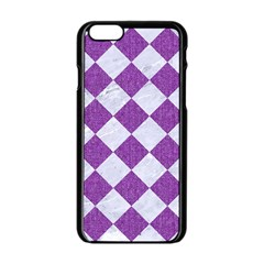 Square2 White Marble & Purple Denim Apple Iphone 6/6s Black Enamel Case