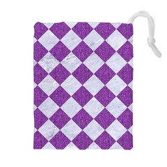Square2 White Marble & Purple Denim Drawstring Pouches (extra Large)