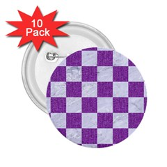 Square1 White Marble & Purple Denim 2 25  Buttons (10 Pack)  by trendistuff