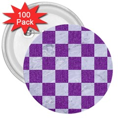 Square1 White Marble & Purple Denim 3  Buttons (100 Pack)