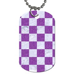 Square1 White Marble & Purple Denim Dog Tag (one Side)