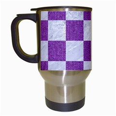 Square1 White Marble & Purple Denim Travel Mugs (white)