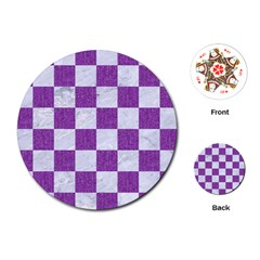 Square1 White Marble & Purple Denim Playing Cards (round)